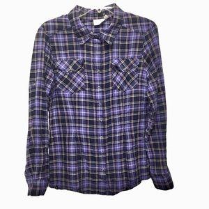 Athleta Tioga Blue Purple Plaid Button Down Shirt